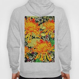 colorful oriental style golden spider mums pattern art Hoody