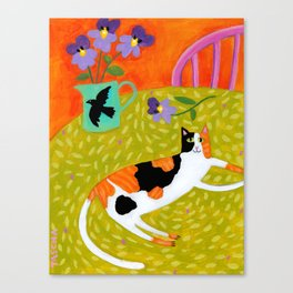 Calico Cat on table reproduction of original painting by Tascha Parkinson Canvas Print
