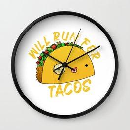 Will Run For Tacos Wall Clock