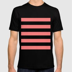 Coral White Stripes MEDIUM Black Mens Fitted Tee