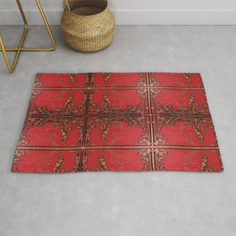 Red and Gold Thistles Rug