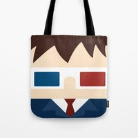 david tennant Tote Bags featuring David Tennant, 10th doctor by heartfeltdesigns by Telahmarie