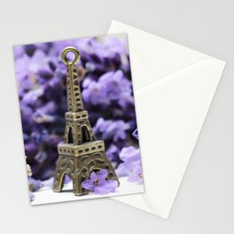 France Photography - Mini Sculpture Of The Eiffel Tower By Purple Petals Stationery Cards