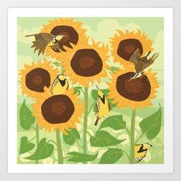 Sunbathing Meadowlarks Art Print