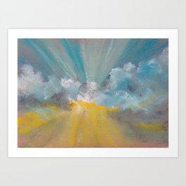 Sun ray - Abstract pastel landscape Art Print