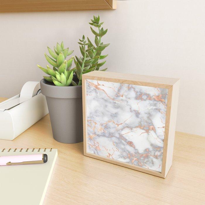 Gray Marble Rosegold  Glitter Pink Metallic Foil Style Framed Mini Art Print