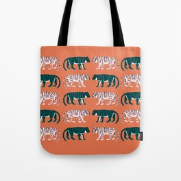Orange, Blush & Green Tigers Tote Bag