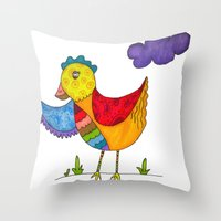 "chicken Throw Pillows featuring ""Chicken""  by Holly Lynn Clark"