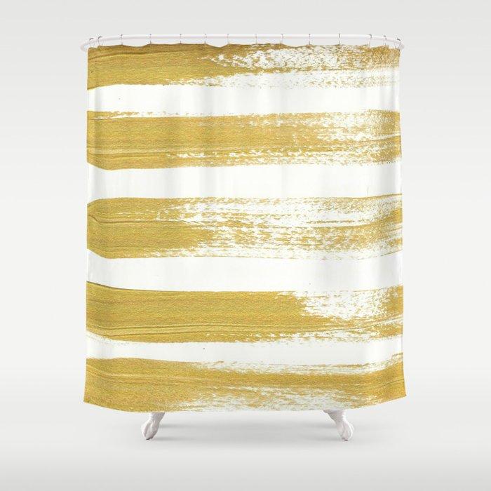 Gold Brushstrokes Shower Curtain