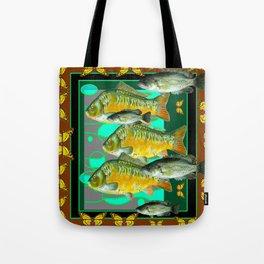 YELLOW MONARCH BUTTERFLIES & BROWN  FISH VIGNETTE Tote Bag