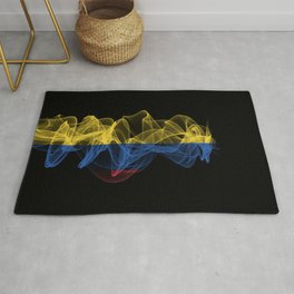 Colombia Smoke Flag on Black Background, Colombia flag Rug