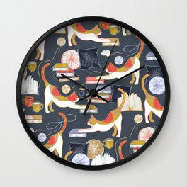 A Comforting Cup of Coffee in The Cozy Company of Cats Wall Clock