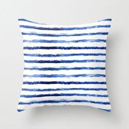 Blue grungy stripes Throw Pillow