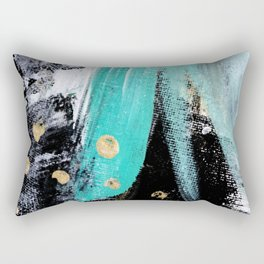 Fairy Dreams: an abstract mixed media piece in black, white, teal, and gold Rectangular Pillow