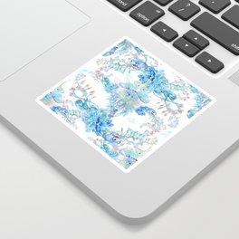 Aqua Chalcedony Luna Moth Succulent Floral Sticker