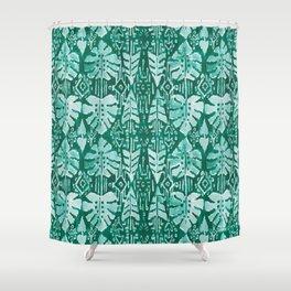 JUNGLE IKAT Green Tropical Monstera Shower Curtain