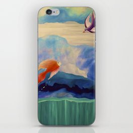 a fish may love a bird but where would they live..... iPhone Skin