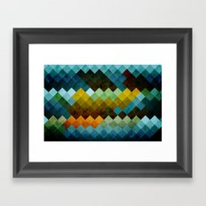 Abstract Cubes BYG Framed Art Print