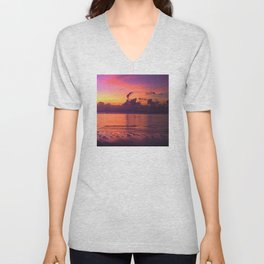 Spectacular Sunset in Tropical Tahiti Unisex V-Neck