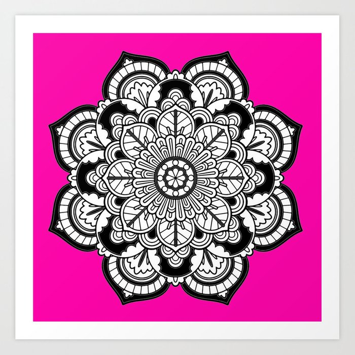 Black and white flower in magenta art print