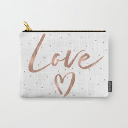 Rose Gold Glam Love Heart Confetti Carry-All Pouch