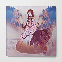 Wolf Princess Raven Metal Print