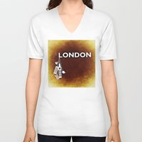 england V-neck T-shirts featuring London, England  by Limitless Design