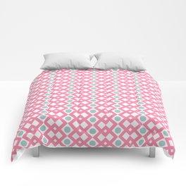 Geometric Pattern - Diamonds and Dots - Pink & Green Comforters