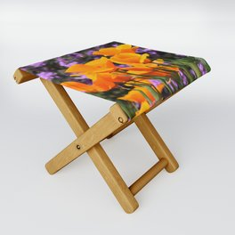 Poppies And Purple Lantana Folding Stool