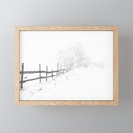 Fence and Snow Framed Mini Art Print