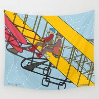 aviation Wall Tapestries featuring Wilbur and Orville Wright, 1903 by Magnetic Boys