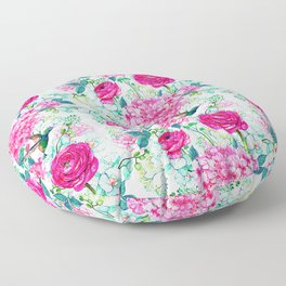 Classic Floral And Bird Pattern In Pink And Aqua-Green Floor Pillow