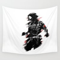 winter soldier Wall Tapestries featuring The Winter Soldier by Ashqtara