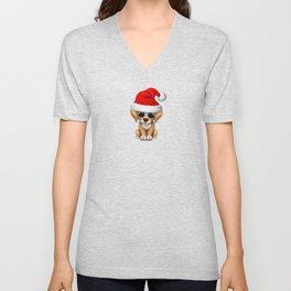 Christmas Golden Retriever Puppy Wearing a Santa Hat Unisex V-Neck