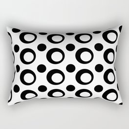 Monochrome Black and White Dots Rectangular Pillow