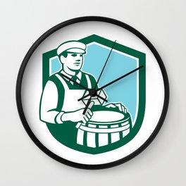 Cooper Barrel Maker Drum Retro Shield Wall Clock