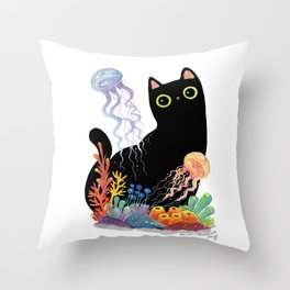 the Aquarium Cat _ Jellyfish Throw Pillow