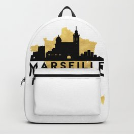 MARSEILLE FRANCE SILHOUETTE SKYLINE MAP ART Backpack