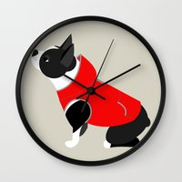 boston terrier Wall Clocks featuring Boston Terrier by Marstella