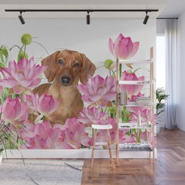 Dog in Field of Lotos Flower Wall Mural