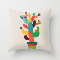 cactus Throw Pillows featuring Whimsical Cactus by Picomodi
