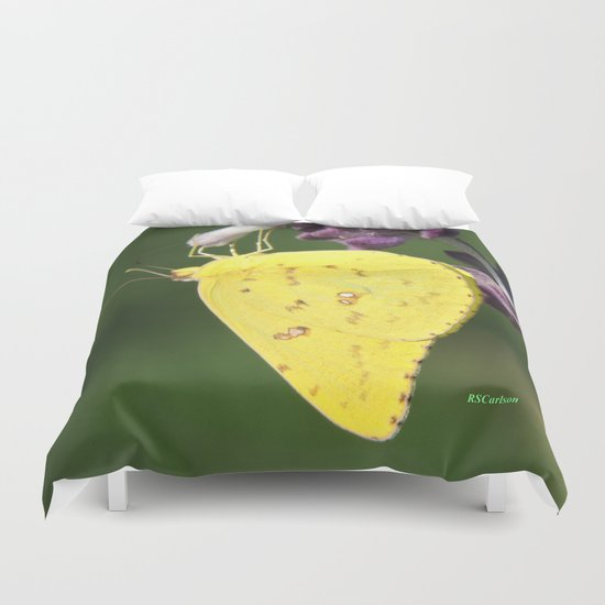 Orange Sulphur Butterfly Duvet Cover