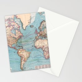 Vintage Map of The World (1897) Stationery Cards