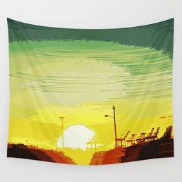 Sunset Over The Shipyard Pixelart Wall Tapestry