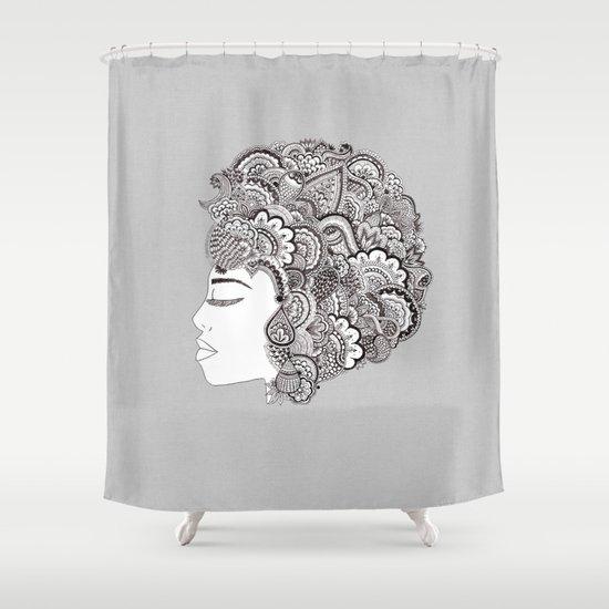 her hair Shower Curtain