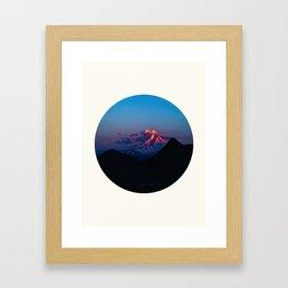 Mid Century Modern Round Circle Photo Purple Pink Snow Mountain Peak Framed Art Print