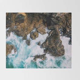 Ocean Waves Crushing On Rocky Landscape, Drone Photography, Aerial Landscape Photo, Ocean Wall Art Throw Blanket