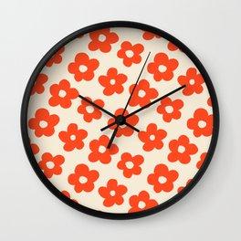 Retro 60s 70s Flower Pattern #pattern #vintage #poppy Wall Clock