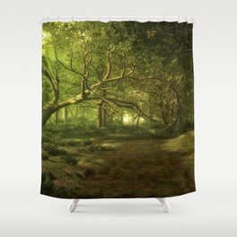 Fantasy Forest Painting Green Wood Shower Curtain