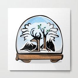Snowglobe Forest Metal Print